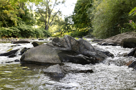 06.09.2020<br />NATURE ART: Stein im Fluss / Stone in a River Bodypainting